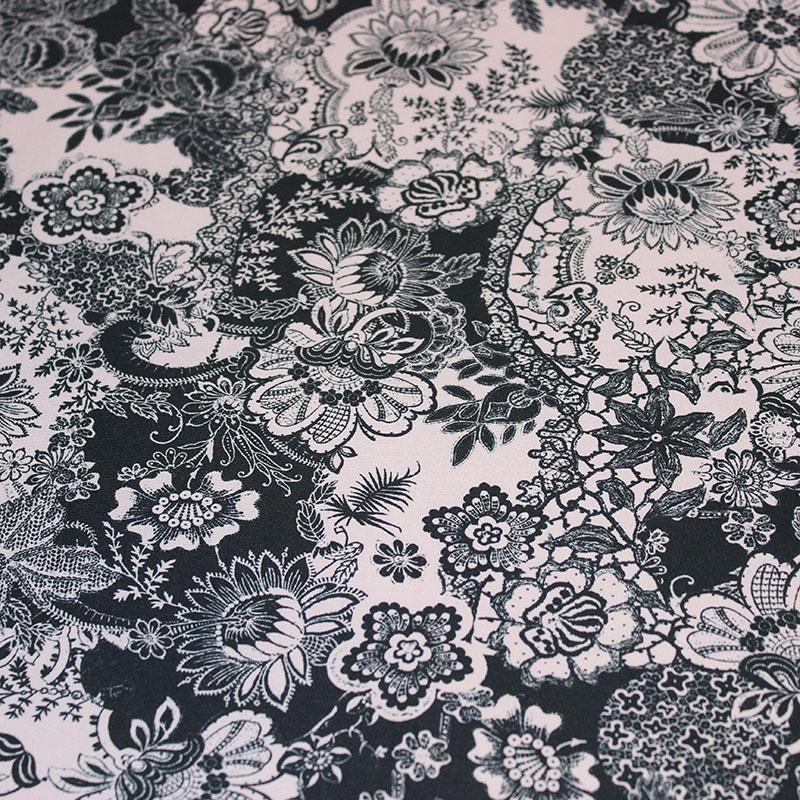 Lycra danse motifs Rose dentelle noire